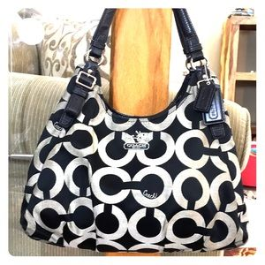 💕 Coach black gray  jacquard large satchel 💕